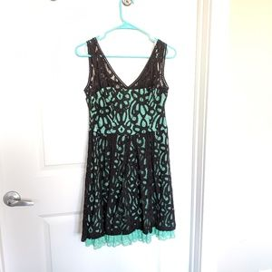 Sequin Hearts Mint and Black Lace Dress